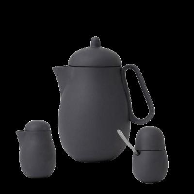 Service à thé en porcelaine gris foncé